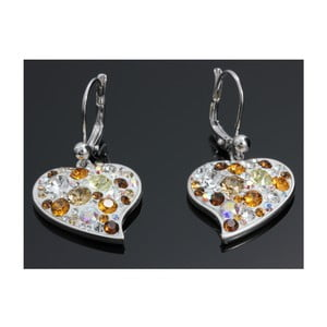 Náušnice Swarovski Elements Trendy Hearts Topaz