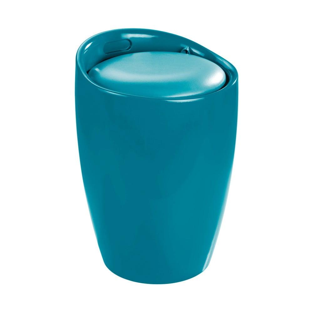 Produktové foto Modrý koš na prádlo a taburetka v jednom Wenko Candy Look, 20l