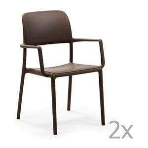Sada 2 hnědých zahradních židlí Nardi Riva