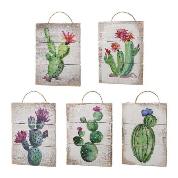 Set 5 decorațiuni de perete din lemn Unimasa Cactus