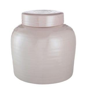 Recipient din ceramică cu capac J-Line, roz, 28x28x27cm