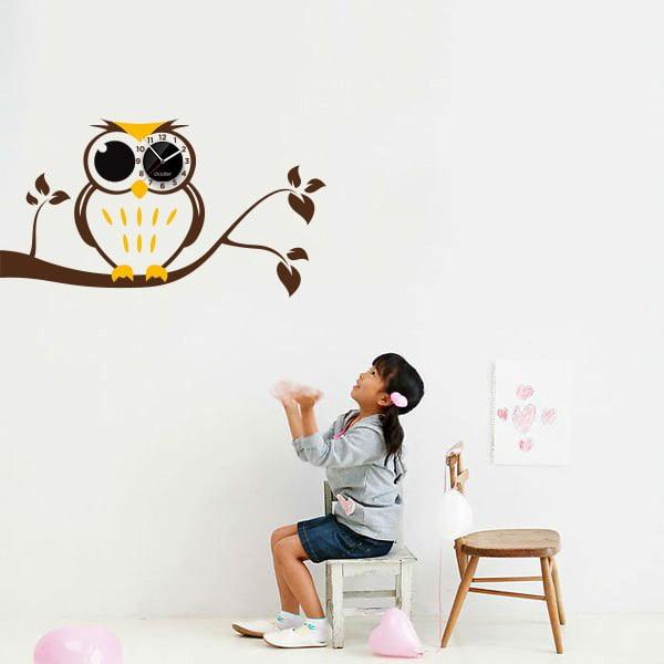 Hodiny se samolepkou Owl