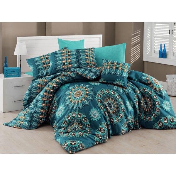 Lenjerie de pat cu cearșaf Nazenin Home Hula Turquoise, 200 x 220 cm