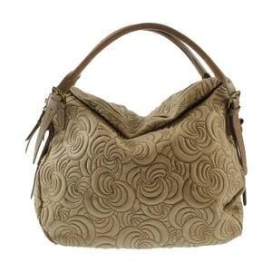 Béžová kožená kabelka Chicca Borse City Look
