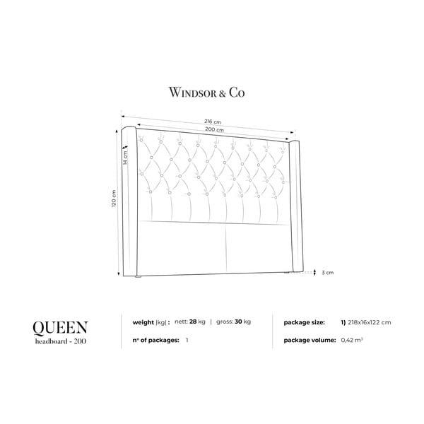 Fialové čelo postele Windsor & Co Sofas Queen, 216 x 120 cm