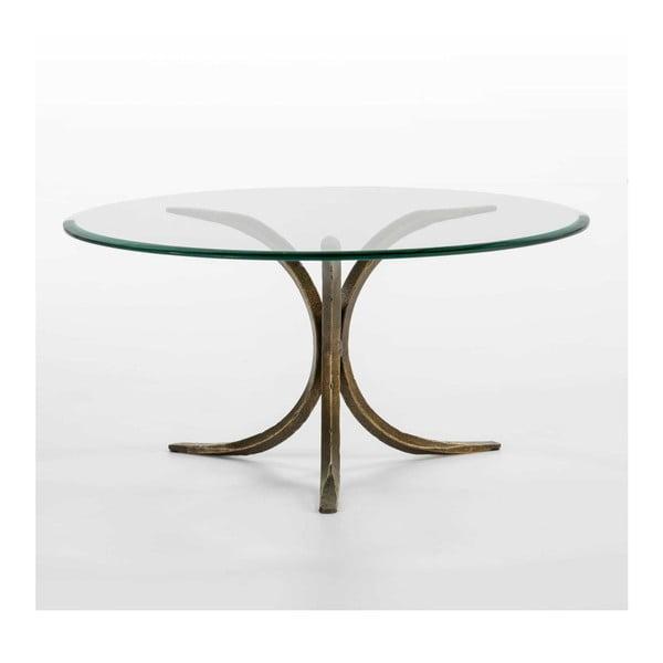 Konferenční stolek ze skla a železa Thai Natura, Ø 90 cm