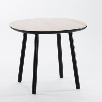 Masă dining din lemn masiv EMKO Naïve, ø 90 cm, alb – negru de la EMKO