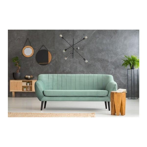 Canapea cu 3 locuri și picioare negre Mazzini Sofas Toscane, verde mentă
