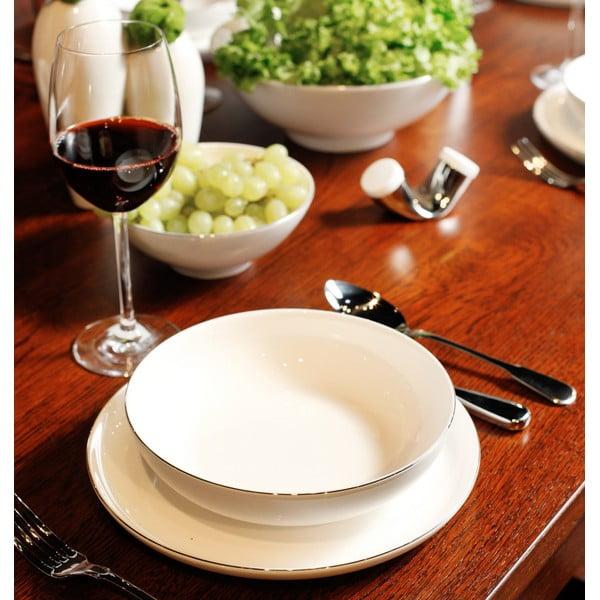 Sada talířů a mís se stříbrným proužkem, 15dílná