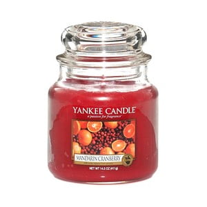 Vonná svíčka Yankee Candle Mandarinky s Brusinkou, doba hoření 65 - 90 hodin