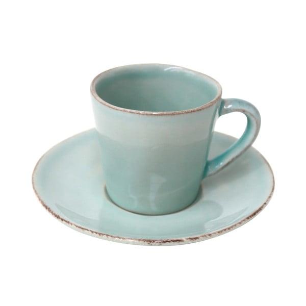Tyrkysová kameninová šálka na kávu s tanierikom Costa Nova, 70 ml