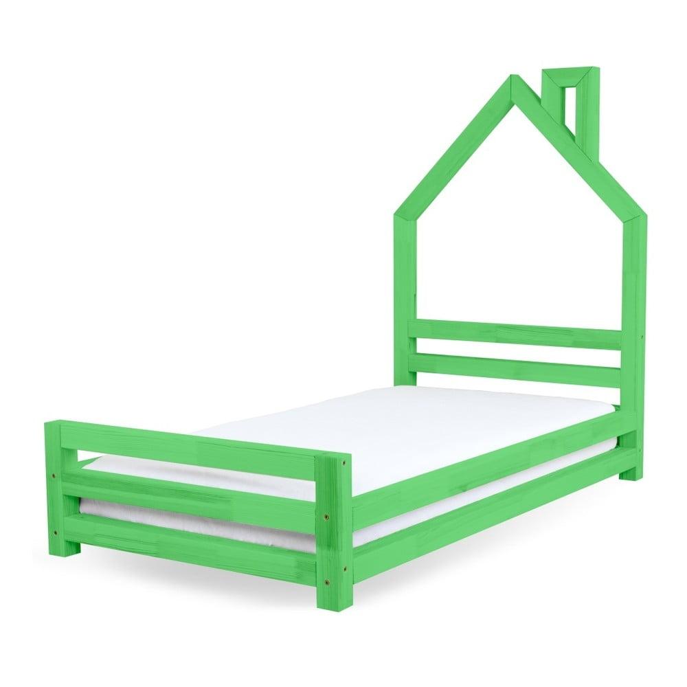 Dětská zelená postel z borovicového dřeva Benlemi Wally, 80 x 160 cm