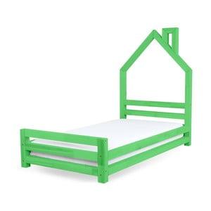 Pat pentru copii din lemn de pin Benlemi Wally, 80 x 160 cm, verde