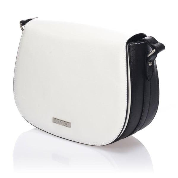 Kožená kabelka Krole Karina, bílá/černá