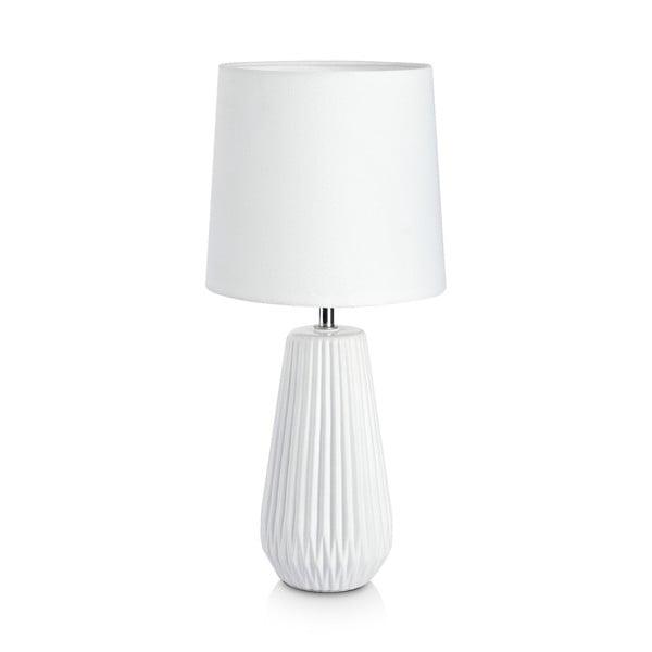 Biela stolová lampa Markslöjd Nicci, ø 19 cm