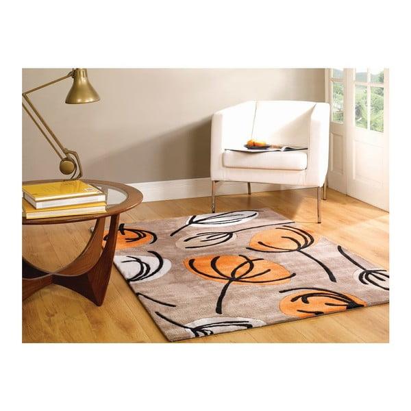 Koberec Fifties Floral 80x150 cm, oranžový