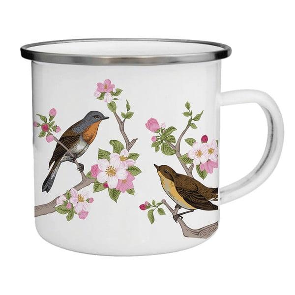 Smaltovaný hrnek s ptáčky a květinami TinMan, 200 ml