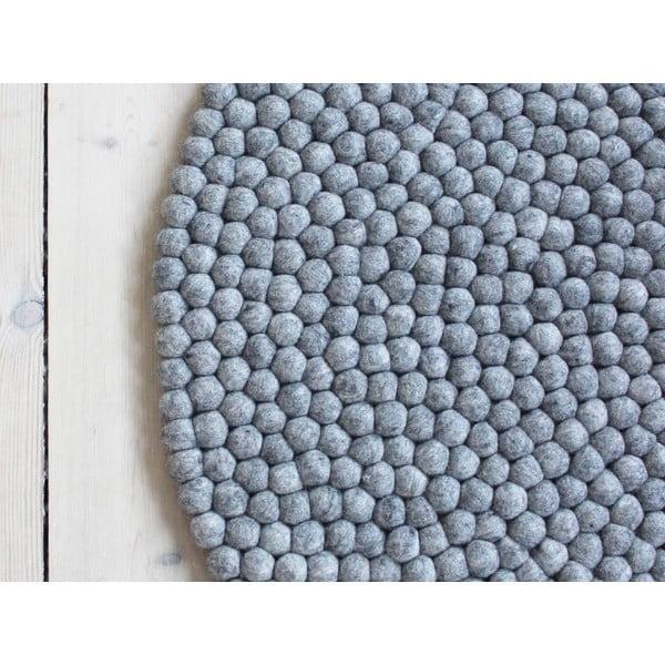 Covor cu bile din lână Wooldot Ball Rugs, ⌀ 140 cm, gri oțel