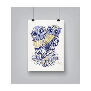 Plakát Americanflat Inked Owls, 30x42cm