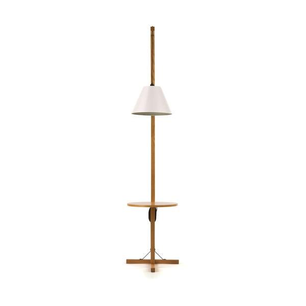 Bílá stojací lampa s dřevěnou kostrukcí Woodman Floor