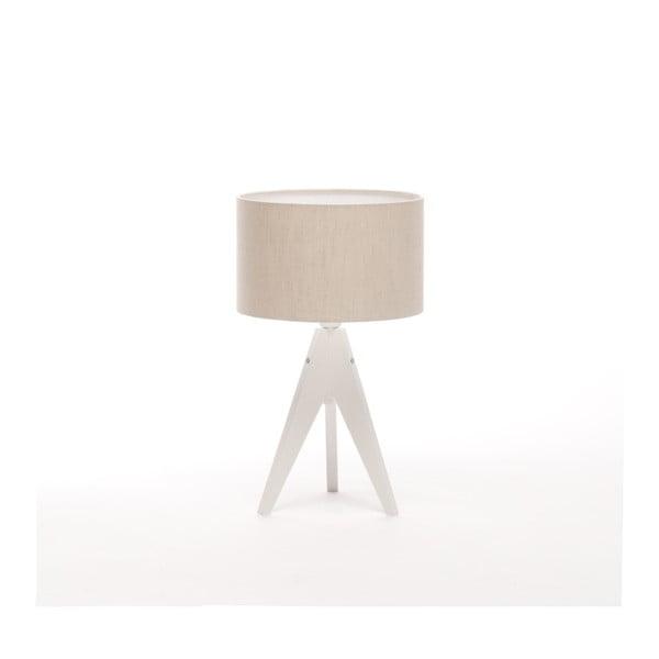 Krémová  stolní lampa 4room Artist, bílá lakovaná bříza, Ø 25 cm