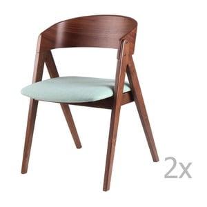 Sada 2 mentolových jídelních židlí sømcasa Rina
