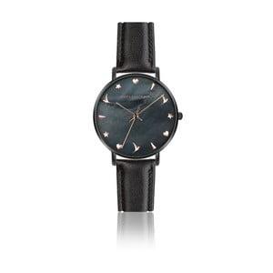 Dámské hodinky s matným černým páskem z pravé kůže Emily Westwood Noir