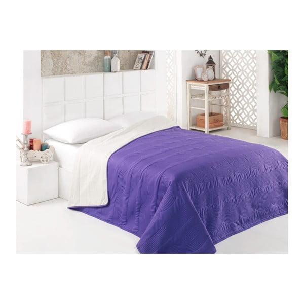 Modrý oboustranný přehoz přes postel z mikrovlákna, 160 x 220 cm