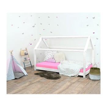 Pat pentru copii, din lemn de molid fără bariere de protecție laterale Benlemi Tery, 80 x 190 cm, alb