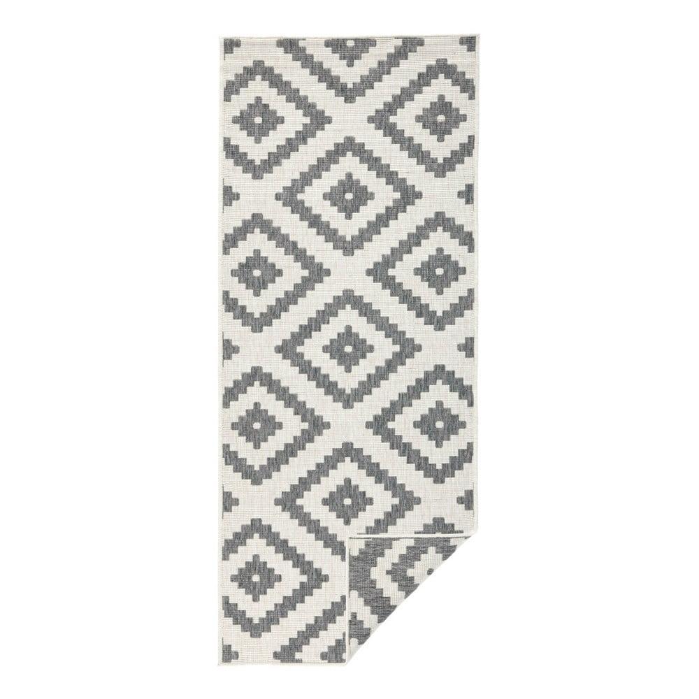 Šedý vzorovaný oboustranný koberec Bougari Malta, 80 x 150 cm