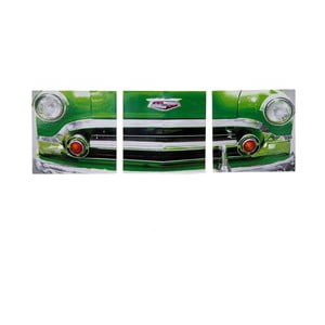 Dřevěný obraz Green Vintage Car, 30x93 cm