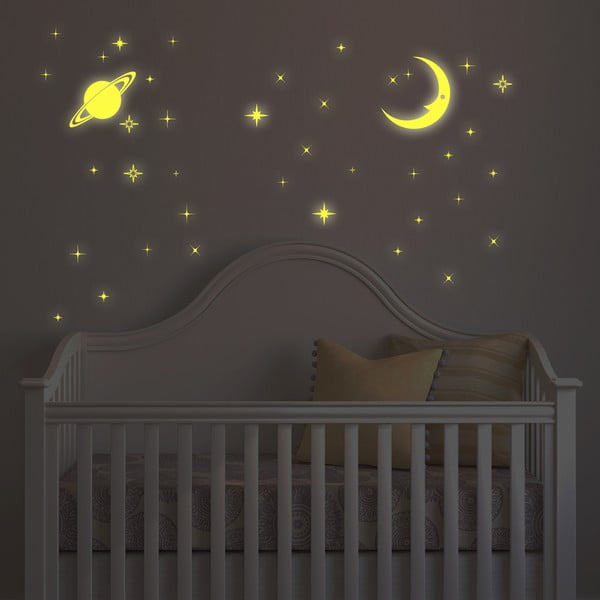 Ve tmě svítící samolepka Měsíc a hvězdy