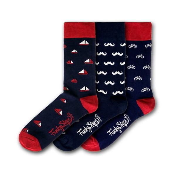 Sada 3 párov farebných ponožiek Funky Steps Gentleman Dark Mix, veľkosť 41 - 45