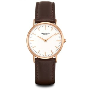Dámské hodinky s hnědým koženým řemínkem a ciferníkem v růžovozlaté barvě Eastside East Village
