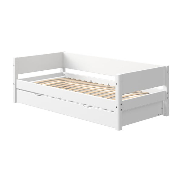 Białe dziecięce łóżko z dodatkowym wysuwanym łóżkiem Flexa White