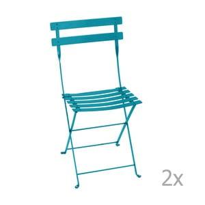 Sada 2 modrých skládacích zahradních židlí Fermob Bistro
