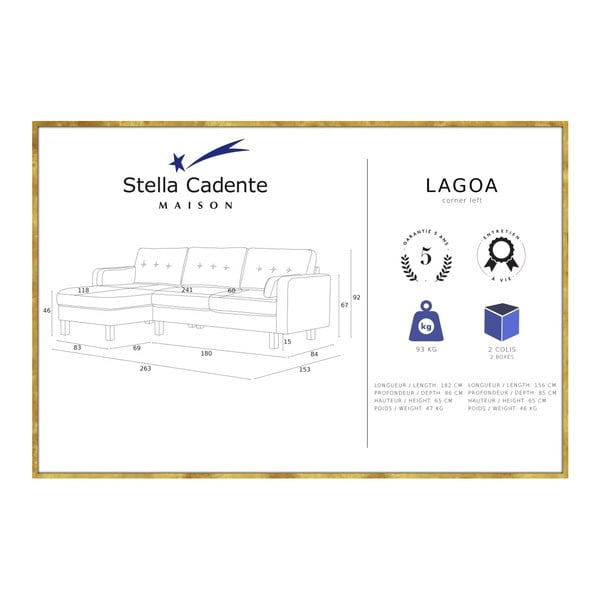 Antracitově šedá pohovka s lenoškou na levé straně Stella Cadente Maison Lagoa
