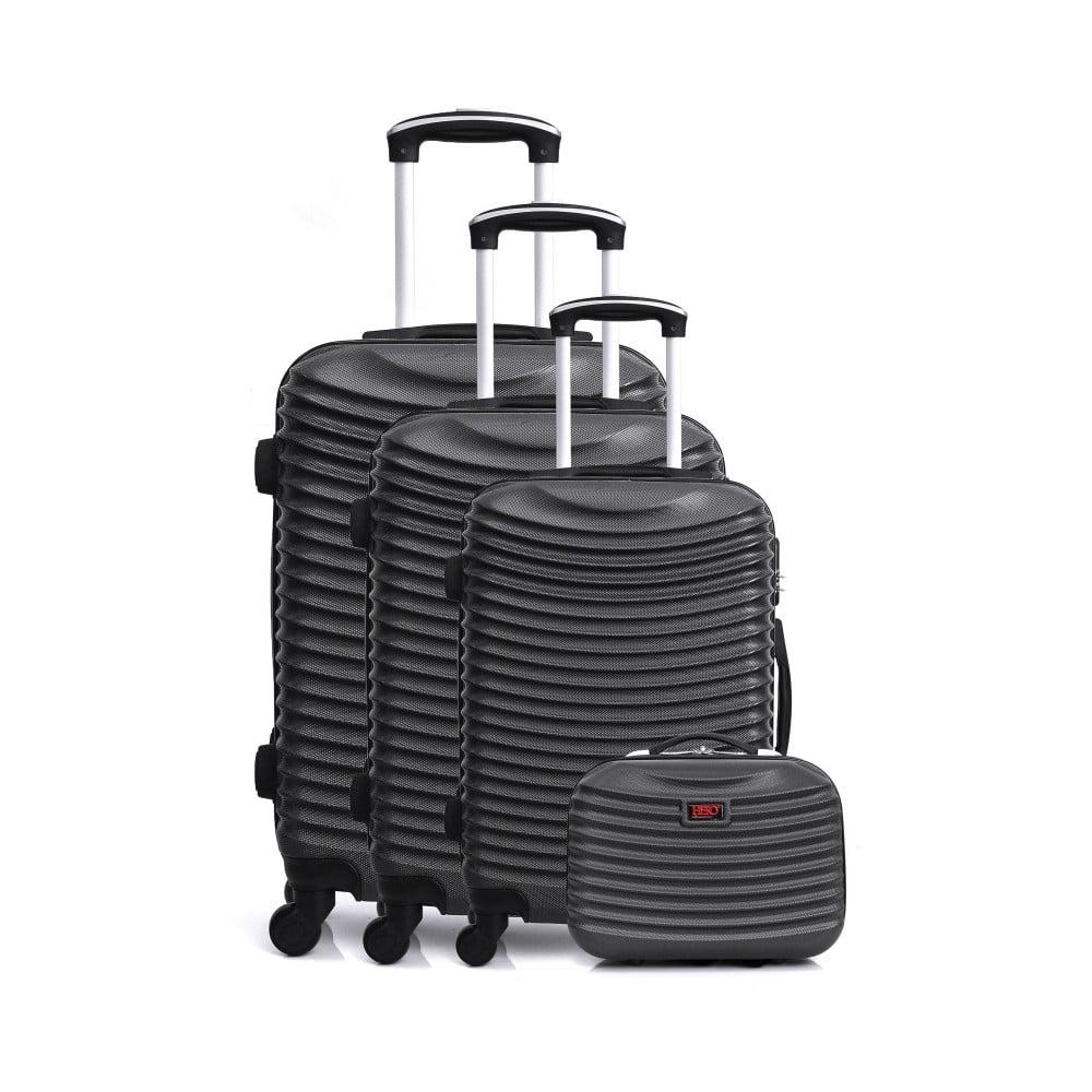 Sada 4 černých cestovních kufrů na kolečkách Hero Vanily