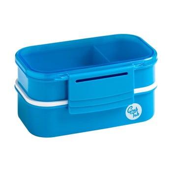Cutie gustări cu 2 compartimente și tacâmuri Premier Housewares Grub Tub, 13,5 x 10 cm, albastru de la Premier Housewares