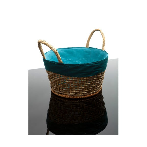 Proutěný koš, modrý 28x16 cm