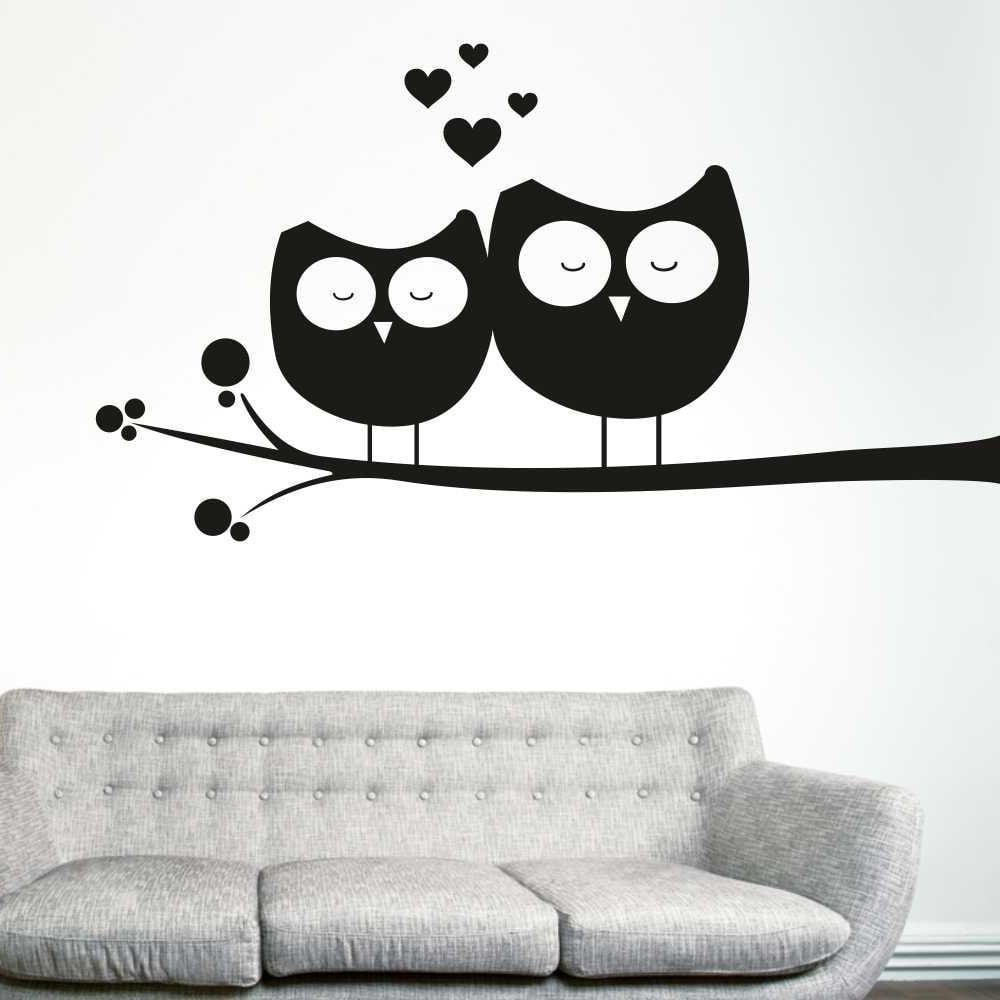 Samolepka na stěnu Wallvinil Zamilované sovy, levá strana