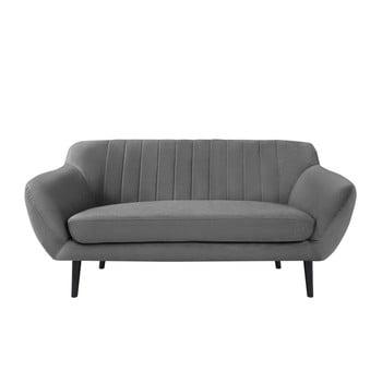 Canapea cu 2 locuri și picioare negre Mazzini Sofas Toscane gri