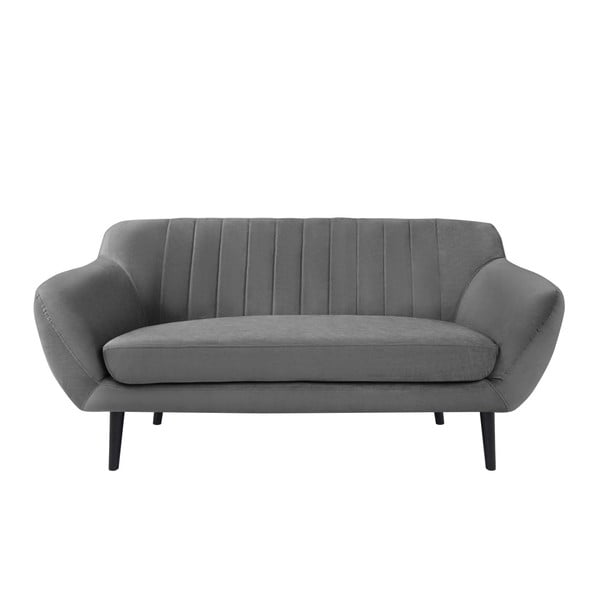 Toscane szürke 2 személyes kanapé, fekete lábak - Mazzini Sofas