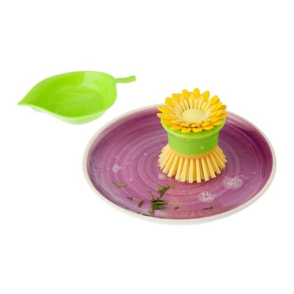 Kartáček s miskou Flower Power, žlutá