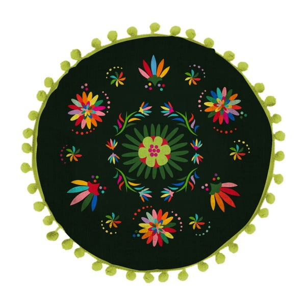 Pernă reversibilă Madre Selva Ave Otomi Negro, ⌀ 45 cm