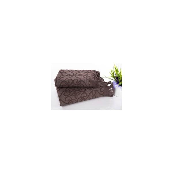 Sada 2 hamam osušek Harem Brown, 50x90 a 70x150 cm