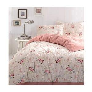 Lenjerie din bumbac ranforsat Little Roses, 160 x 240 cm, roz