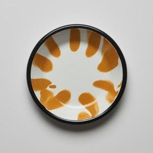Oranžovobílý smaltovaný talíř Kapka Little Color, Ø12cm