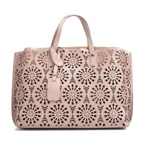 Růžovobéžová kožená kabelka Mangotti Bags Lulia