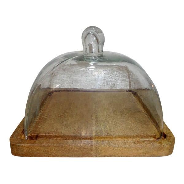 Dřevěný podnos na sýr se skleněným poklopem Antic Line Fromage